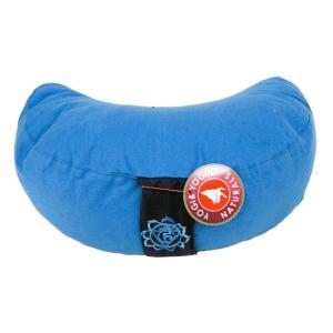 Yogi and Yogini Meditation Cushion Blue Crescent Cotton - 5th Chakra - 33 x 13 cm