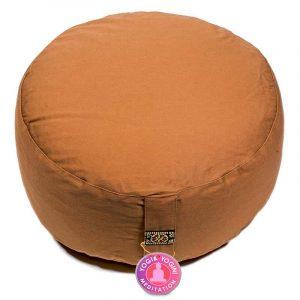 Yogi and Yogini Meditation Cushion Round Cotton Brown - 33 x 17 cm