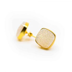 Gemstone Earstuds Druzy Quartz - 925 Silver & Gold-plated
