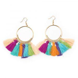 Bohemian Coloured Earrings 8 Tassels