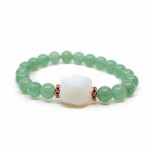 Gemstone Bracelet Green Aventurine with Opalite