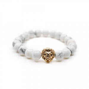 Gemstone Bracelet Howlite with Lion