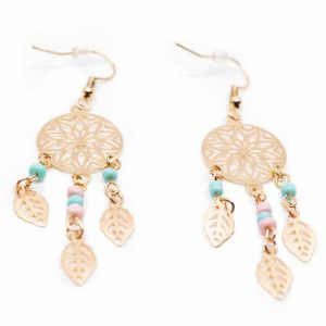 Bohemian Earrings Dreamcatcher Gold-coloured