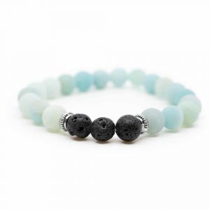 Gemstone Bracelet Amazonite with Lava Stones