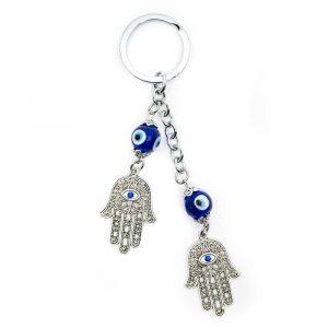 Keychain Protection Double Hamsa Hand