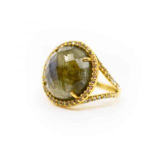 "Labradorite Gemstone Ring 925 Silver & Gold-plated ""Reflection"""
