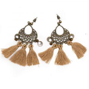 Bohemian Earrings Mandala with Brown Tassel