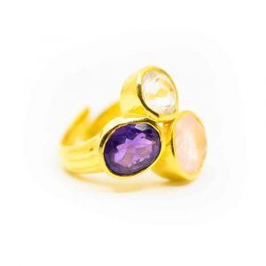 "Golden Triangle Gemstone Ring 925 Silver & Gold-plated ""Balance"""