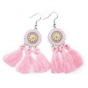 Bohemian Earrings Pink Flower