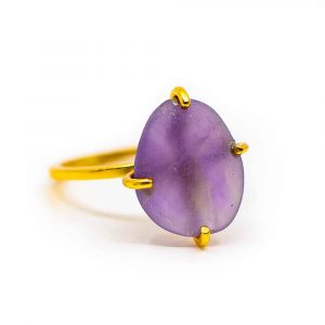 "Amethyst Gemstone Ring 925 Silver & Gold-plated ""Perception"""