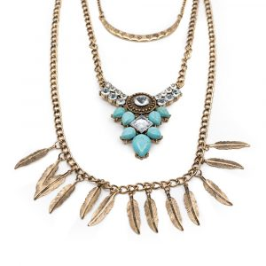 Bohemian Chain with Blue Stones and Feathers