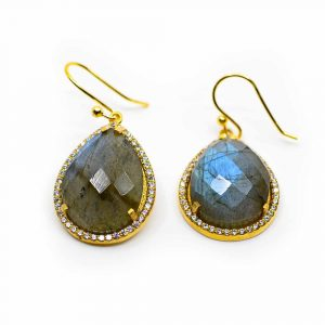 Gemstone Earrings Labradorite Drop-shaped - 925 Silver & Gilt