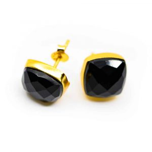 Gemstone Earstuds Black Onyx - 925 Silver & Gold-plated