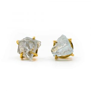 Gemstone Earstuds Raw Aquamarine - 925 Silver & Gold-plated