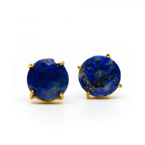 Gemstone Earstuds Lapis Lazuli - 925 Silver & Gold-plated