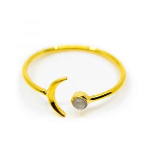 Gemstone Ring Moonstone - 925 Silver & Gold-plated