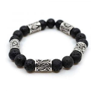 Viking Bracelet Lava Stone and Runes