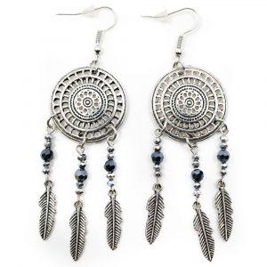 Bohemian Earrings Mandala Feathers