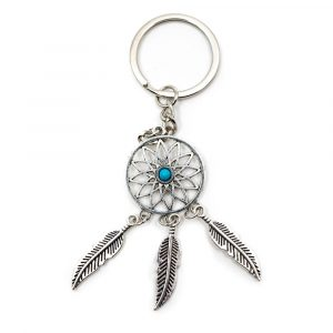 Keychain Bohemian Dreamcatcher with Blue Stone