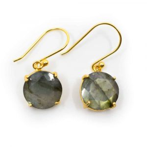 Gemstone Earrings Labradorite Polished - 925 Silver & Gilded