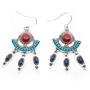 Bohemian Earrings with Red Stone