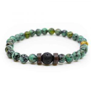 Gemstone Bracelet Fuchsite with Lava Stone