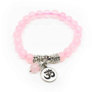 Gemstone Bracelet Rose Quartz Mala with OHM