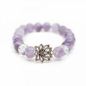 Gemstone Bracelet Amethyst / Rock Crystal with Lotus