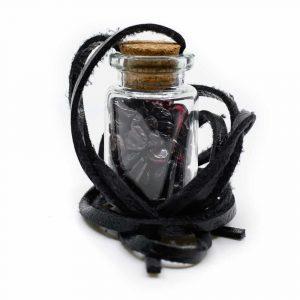 Gift Bottle on Wax Cord with Garnet