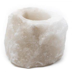 Salt Stone Tea Light Holder White (400 - 700 grams) approx. 9 x 9 x 10 cm