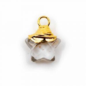 Birthstone Pendant Star April Rock Crystal 925 Silver (10 mm)