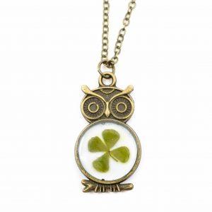 Chain Antique Four-leaf Clover Owl