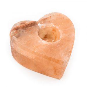 Salt Stone Tea Light Holder Orange Heart (1.3 kg) 12 x 12 cm