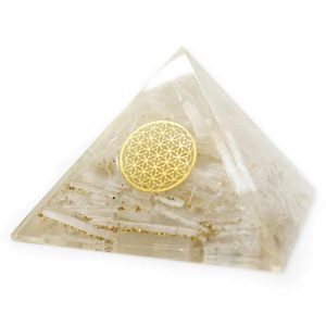 Orgone Pyramid Selenite - Flower of Life (70 mm)