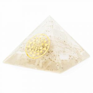 Orgonite Pyramid Selenite - Sri Yantra (70 mm)