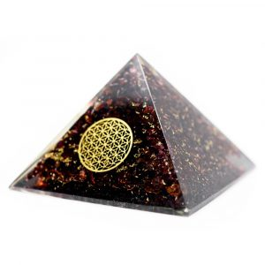 Orgonite Pyramid Garnet with Flower of Life (70 mm)