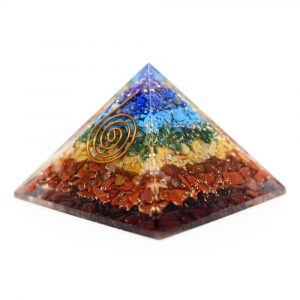 Orgonite Pyramid 7 Chakra with Copper Spiral (40 mm)