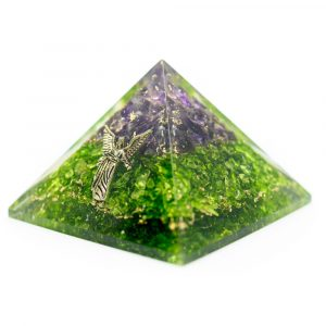 Orgonite Pyramid of Amethyst and Peridot with Archangel Raphael (40 mm)