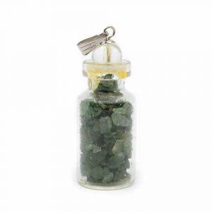 4th Chakra Bottle Pendant Green Aventurine with Rock Crystal