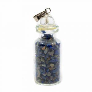 6th Chakra Bottle Pendant Lapis Lazuli with Rock Crystal