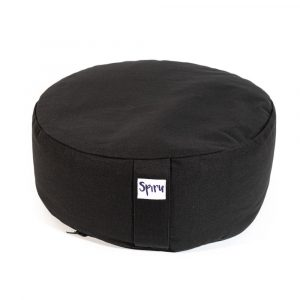 Spiru Meditation Cushion Round Cotton Black - 36 x 15 cm