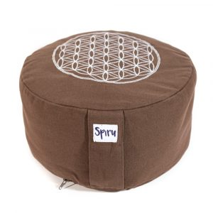 Spiru Meditation Cushion Round Cotton Brown - Flower of Life - 30 x 15 cm