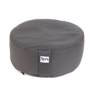 Spiru Meditation Cushion Round Cotton Anthracite - 36 x 15 cm