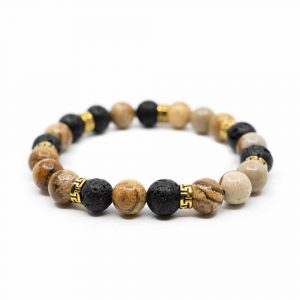 Gemstone Bracelet Jasper/Lava Stone with Gold Rings