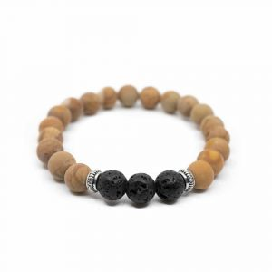 Gemstone Bracelet Jasper/Lava Stone with Silver Rings