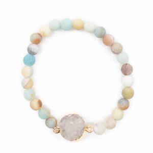 Gemstone Bracelet Amazonite with Quartz Cluster