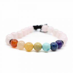 7 Chakra Gemstone Rose Quartz Bracelet
