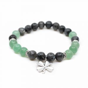 Gemstone Bracelet Aventurine/Labradorite with Four-leaf Clover