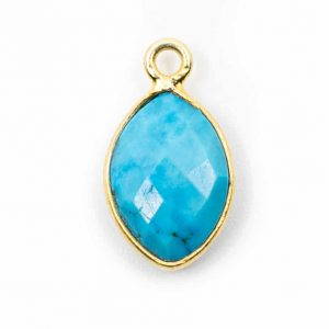 Birthstone Pendant December Turquoise 925 Silver & Gilded (12 mm)