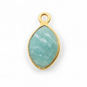 Birthstone Pendant March Aquamarine 925 Silver & Gilded (12 mm)